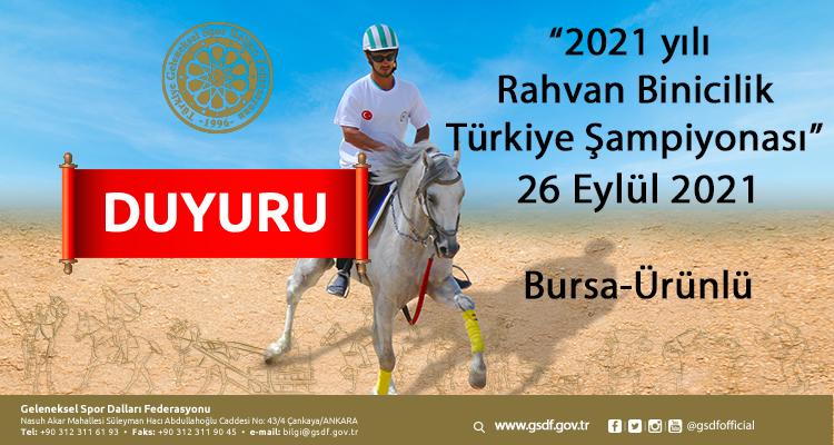 2021 yılı  Rahvan Binicilik Türkiye Şampiyonası 26 Eylül 2021
