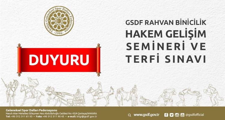 Gsdf Rahvan Binicilik Hakem Gelişim Semineri ve Terfi Sınavı