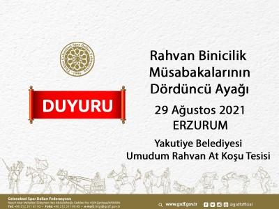 Rahvan Binicilik Müsabakalarının Dördüncü Ayağı - 29 Ağustos 2021 Erzurum