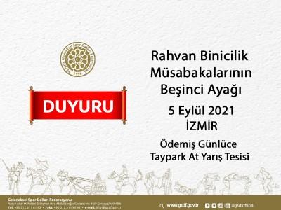 Rahvan Binicilik Müsabakalarının Beşinci Ayağı 5 Eylül 2021 İzmir