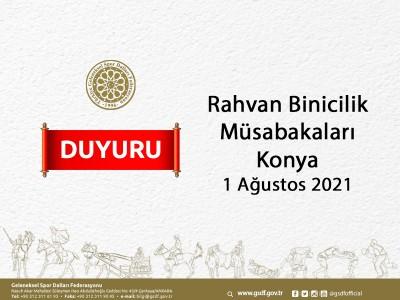 Rahvan Binicilik Müsabaka Başvurusu -Konya 1 Ağustos 2021