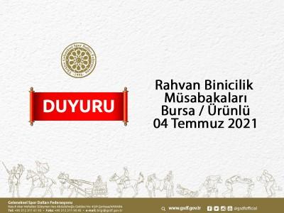 Rahvan Binicilik Müsabaka Başvurusu - Bursa-Ürünlü 04 Temmuz 2021
